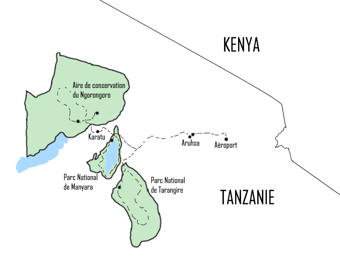 Carte du programme Safari Manyara Ngorongoro Tarangire